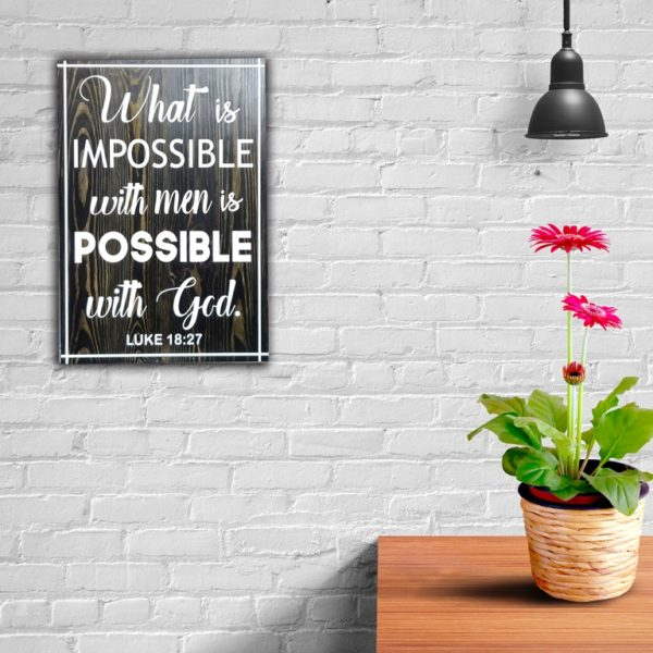 Possible with God – 19 x 14 inches – Wooden Wall Plaque – Ebony White