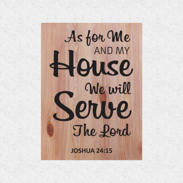 As for me and my house – 19 x 14 inches – Wooden Wall Plaque – Light Teak – Black
