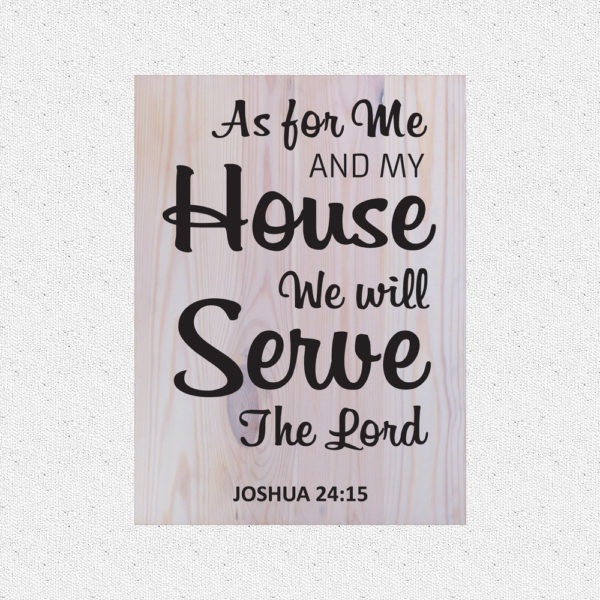 As for me and my house – 19 x 14 inches – Wooden Wall Plaque – White – Black