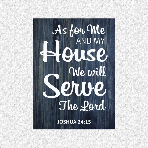 As for me and my house – 19 x 14 inches – Wooden Wall Plaque – Charcoal – White