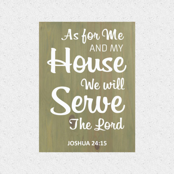 As for me and my house – 19 x 14 inches – Wooden Wall Plaque – Sage – White