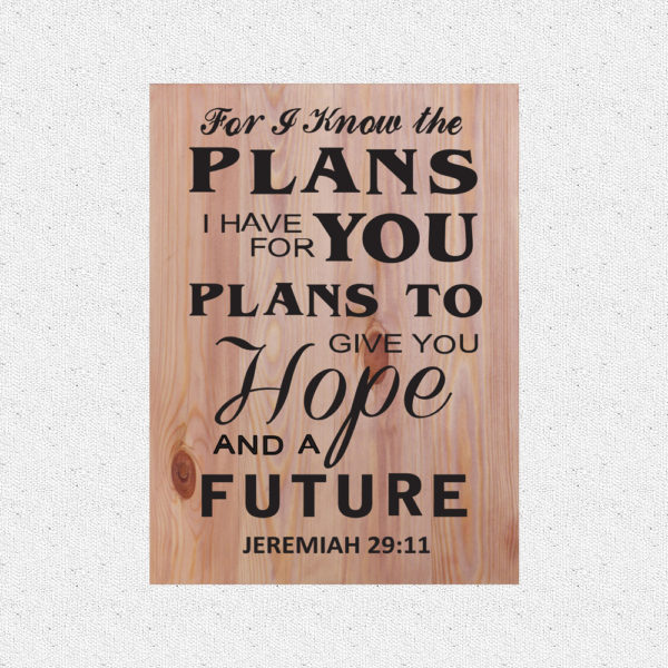 For I know the plans – 19 x 14 inches – Wooden Wall Plaque – White Teak Black