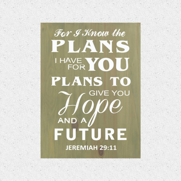 For I know the plans – 19 x 14 inches – Wooden Wall Plaque – Sage White