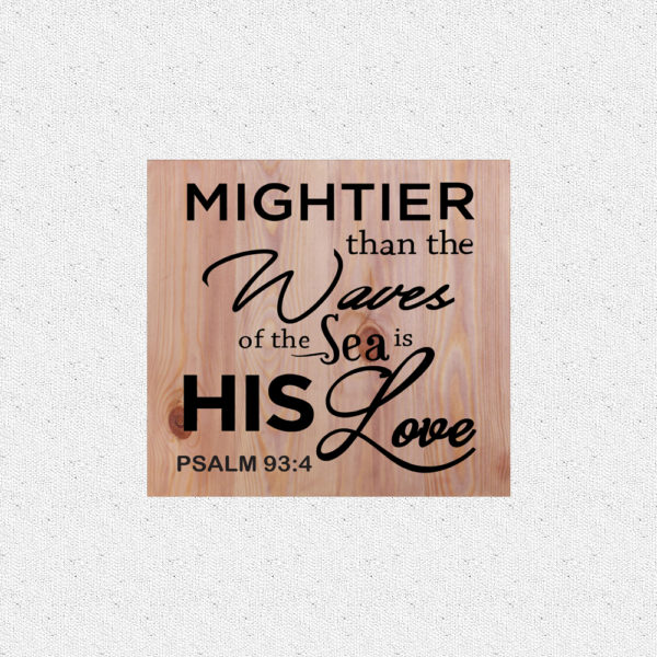 Mightier than the waves – 14 x 14 inches – Wooden Wall Plaque – Light Teak – Black