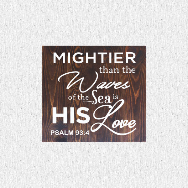 Mightier than the waves – 14 x 14 inches – Wooden Wall Plaque – Kona – White