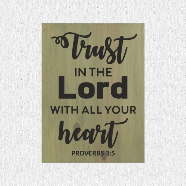 Trust in the Lord – 19 x 14 inches – Wooden Wall Plaque – Sage – Black