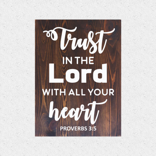 Trust in the Lord – 19 x 14 inches – Wooden Wall Plaque – Kona – White