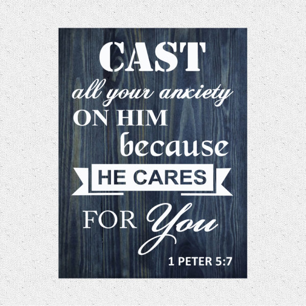 Cast your Burden – 19 x 14 inches – Wooden Wall Plaque – Charcoal – White