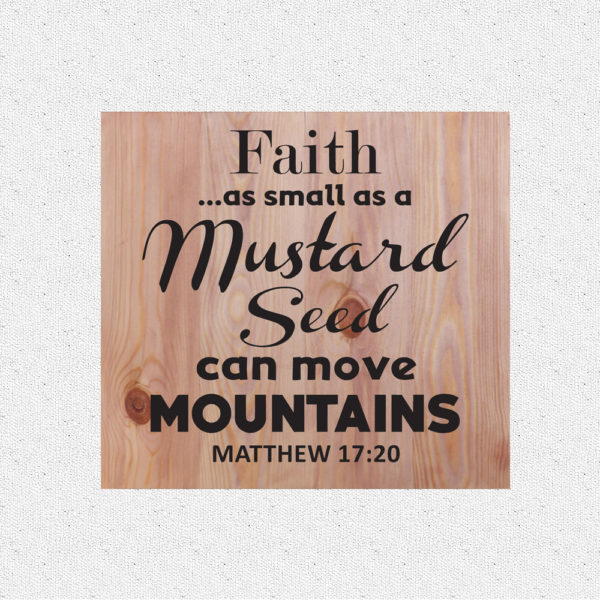 Faith as small – 14 x 14 inches – Wooden Wall Plaque – Light Teak – Black