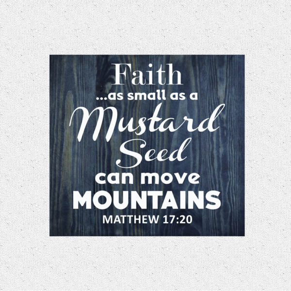 Faith as small – 14 x 14 inches – Wooden Wall Plaque – Charcoal – White