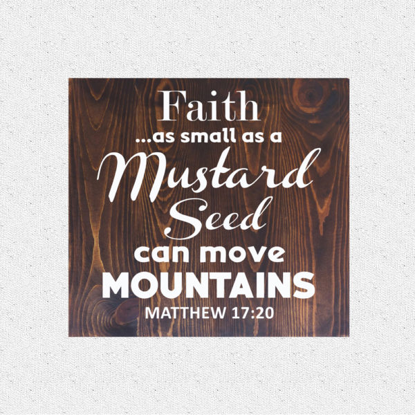 Faith as small – 14 x 14 inches – Wooden Wall Plaque – Kona – White