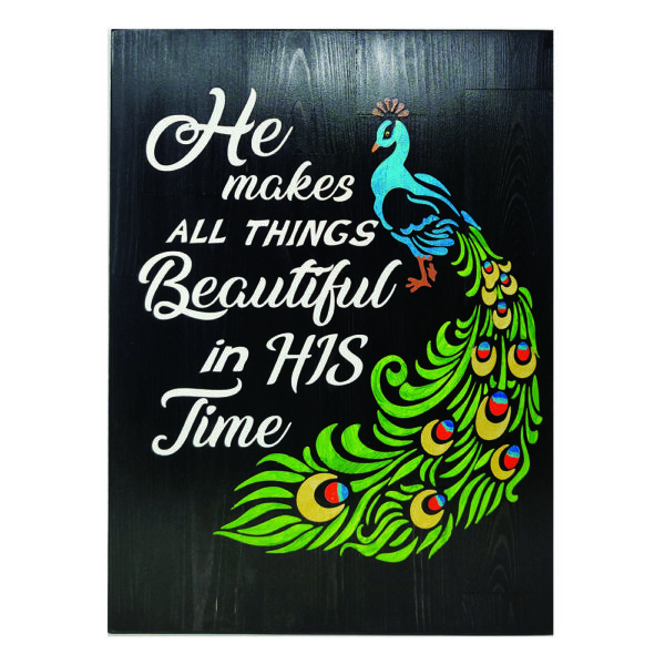 He makes all things beautiful (peacock) – 19 x 14 inches – Wooden Wall Plaque – Black