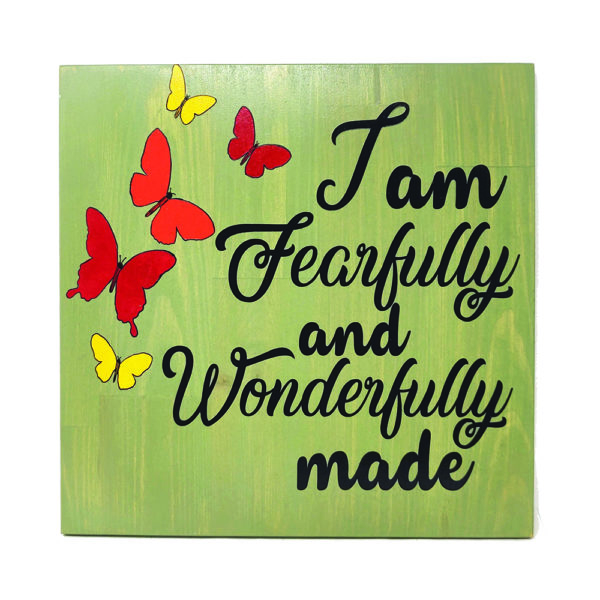 Fearfully and Wonderfully made – 14 x 14 inches – Wooden Wall Plaque