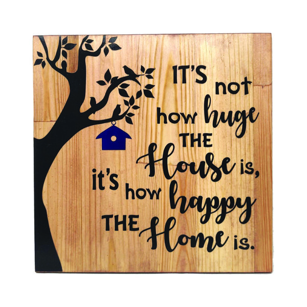 Happy Home – 14 x 14 inches – Wooden Wall Plaque – Light Teak