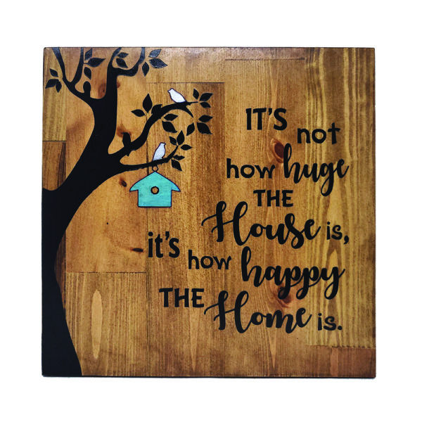 Happy Home – 14 x 14 inches – Wooden Wall Plaque – Light Walnut