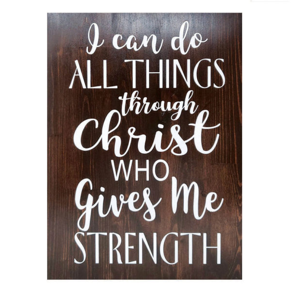 I can do all things – 19 x 14 inches – Wooden Wall Plaque – Walnut White