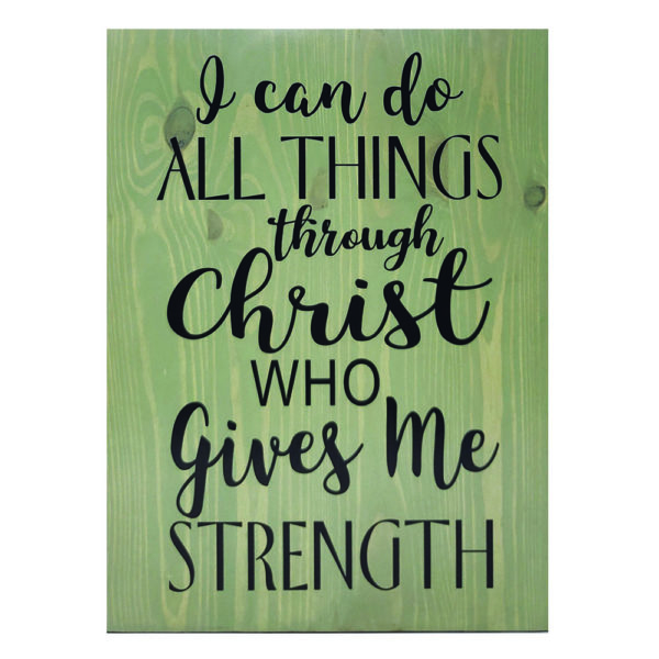 I can do all things – 19 x 14 inches – Wooden Wall Plaque – Sage – Black
