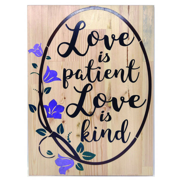 Love is Patient – 19 x 14 inches – Wooden Wall Plaque