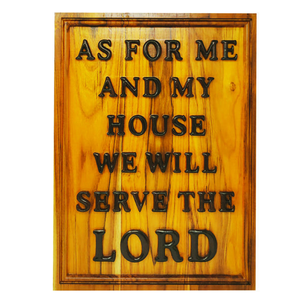 As for me and my House – Teak Wood 14×19 Carved wooden Plaque