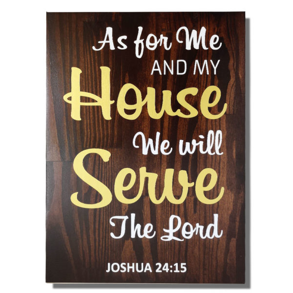 As for me and my house – 19 x 14 inches – Wooden Wall Plaque – Kona Gold