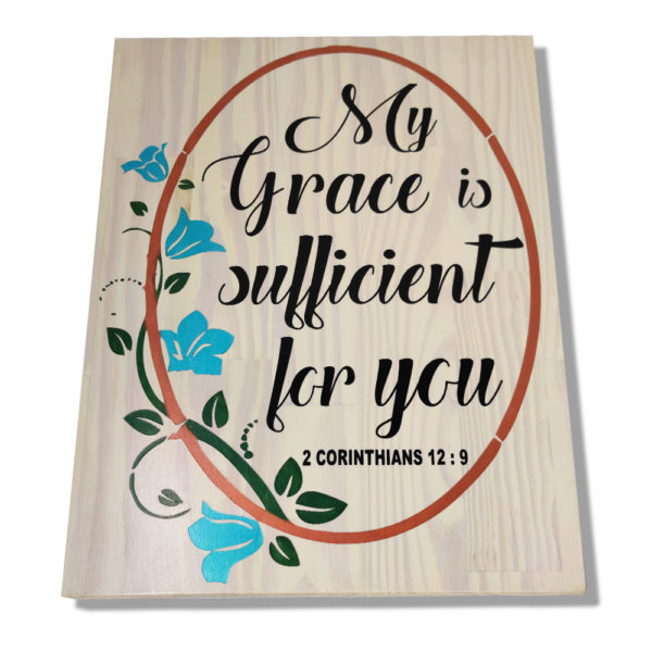 My Grace is sufficient for you – 19 x 14 inches – Wooden Wall Plaque White – Black