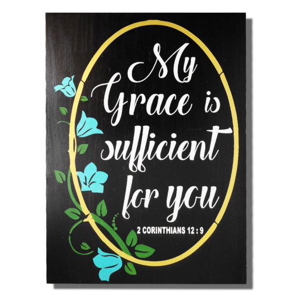My Grace is sufficient for you – 19 x 14 inches – Wooden Wall PlaqueEbony – white