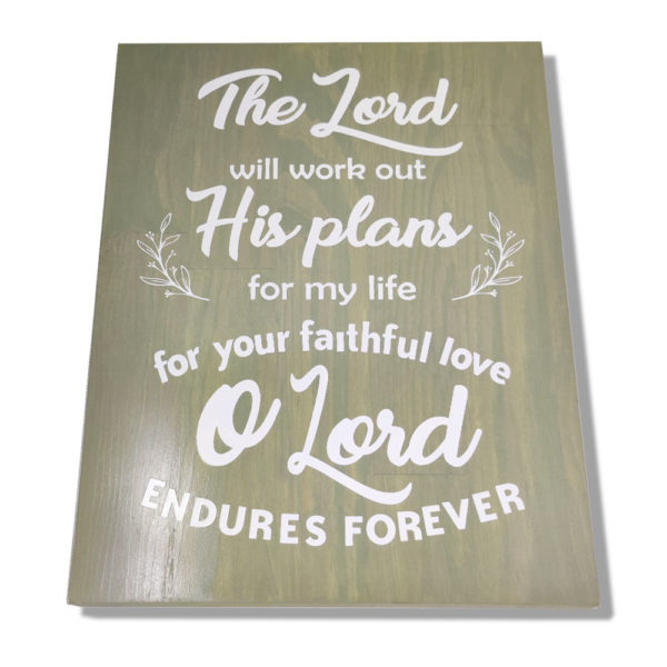 The Lord will work out – 19 x 14 inches – Wooden Wall Plaque
