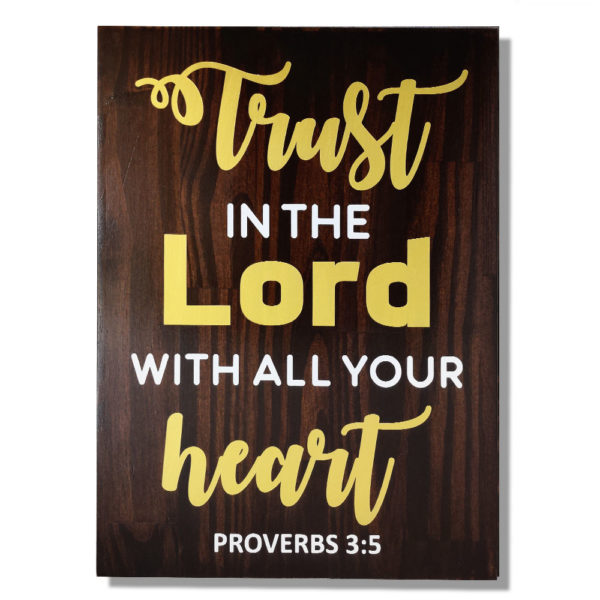 Trust in the Lord – 19 x 14 inches – Wooden Wall Plaque – Dark Walnut – Gold