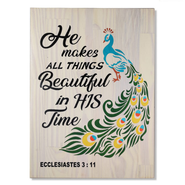 He makes all things beautiful (peacock) – 19 x 14 inches – Wooden Wall Plaque – White