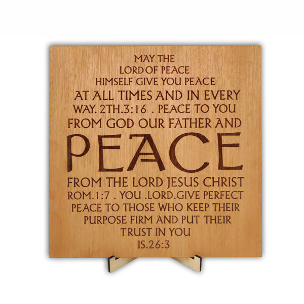PEACE –  Laser engraved – Table Top 9 x 9 inches